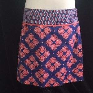 Vineyard Vines Navy and Coral Shell Skirt size 2